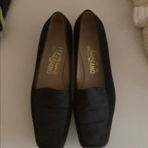 Sarah Gummo black velvet loafers